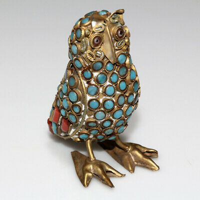 Unique-Hand Made Greek Athens Brass Owl Statue With Nice Stones