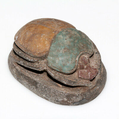Scarce Egyptian Stone Colored Scarab Bead Seal Circa 1000-500 Bc - Large Size