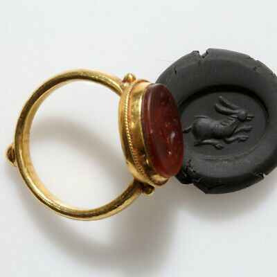 Very Rare Ancient Hellenic Period Greek Hollow Gold Intaglio Seal Ring Circa 300