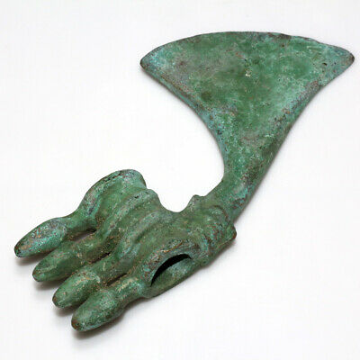 EXTREMELY RARE CIRCA 700 BC LURISTAN MILITARY BRONZE AX DECORATED-609grams