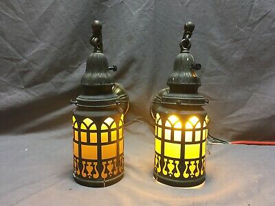 Vtg Brass Arts Crafts Sconce Pair Yellow Stained Glass Cylinder Shades 379-20E