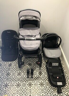 Silver Cross Wayfarer Pram Pushchair Car Seat 3 In 1 Travel System Grey Platinum