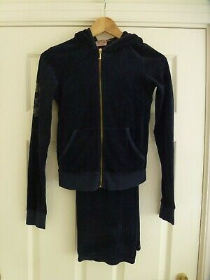 JUICY COUTURE Ladies Navy Velour Hooded Tracksuit Size XS/S