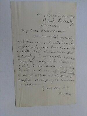 William Etty Extremely Rare Signed Personal Letter Undated From Famed Artist