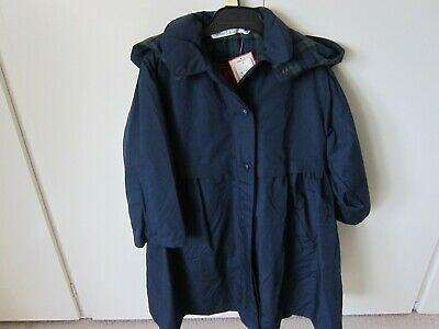 Marks and Spencer Girls Navy Hooded Polyester/cotton Coat Age 4 years