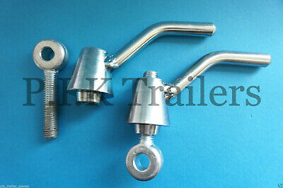 2 x Ramp Fastener Lever Handle & Eye Bolt M12 Thread for Ifor Williams Trailer