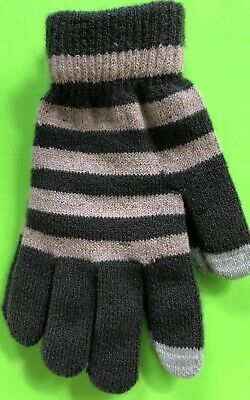 Gray And Pink (Salmon) Double Chenille Lined Gloves One Size Nwt!
