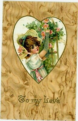Vintage Valentine  Postcard To My Love Heart Girl Embossed Posted 1907