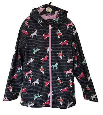 Joules Right As Rain Collection Blue Horse Print Showerproof Coat For 9-10 Yr