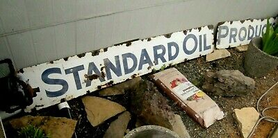 16 ft. STANDRD OIL PRODUCTS  Porcelain Sign 2-PIECE Gas Station CALIFORNIA