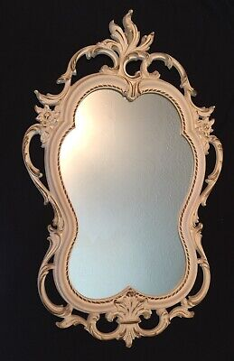 "Vtg SYROCO French Country Ornate Scrolling Flowers White Gold Wall Mirror 31""x19"