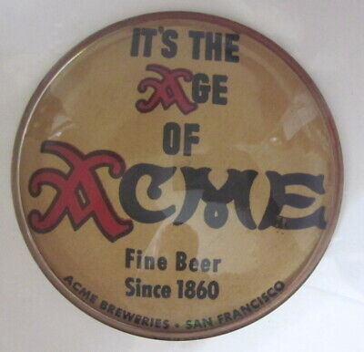 c1940s The Age Of ACME Fine Beer glass paperweight Acme Breweries San Francisco