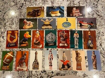 (21) 40 yr old Lot Ezra Brooks Bottle Postcards Collectibles & Mascots! 1960's