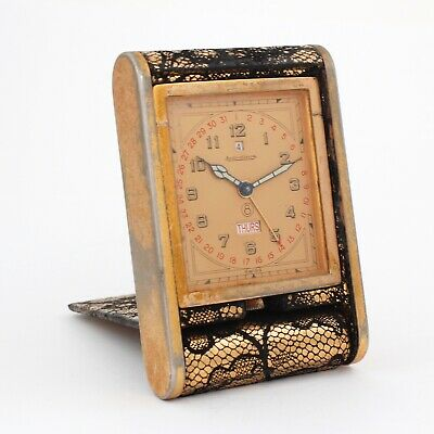 Vintage Jaeger-Le Coultre 8 Day Travel Clock w/ Day & Date!! Gold Tone, Lace