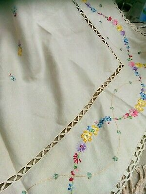 Vintage embroidered tablecloth Unbleached Linen . Stunning workmanship.
