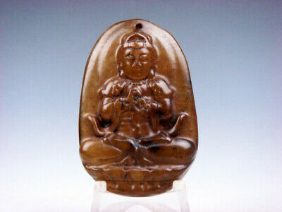 Vintage Nephrite Jade Hand Carved *Seated Buddha Praying* Pendant #01072009