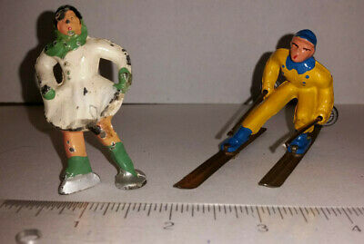 Antique Cast Iron Skier (Excellent) & Skater (Some Paint Loss)- Barclay? Hubley?