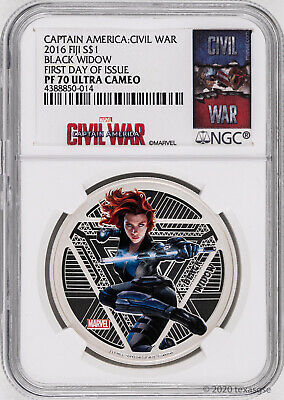 2016 Fiji $1 Marvel's Avengers Black Widow 1oz Silver Proof Coin NGC PF70 - FDI