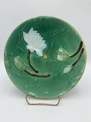 Joseph Holdcroft WATER LILY Majolica Plate England Antique c.1860-1890 #2