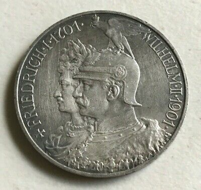 1901 Germany Prussia 5 Marks Silver - Cleaned/Polished