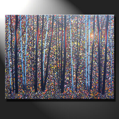 Original Large Oil Painting Canvas Sunny Day Forest Tree Birches Shine GeeBeeArt