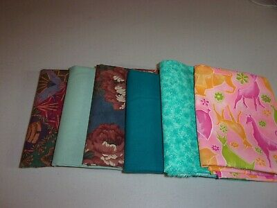 LOT OF 6 -FQ'S IN SHADES OF GREENS COTTON/BLENDS SEW/CRAFT Fabric 1.5 YD LT1