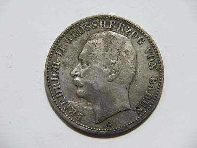 Germany 1909 G 3 Mark Baden Friedrich Corrosion Cleaned Silver World Coin 🌈⭐🌈