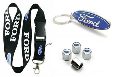 Ford Lanyard + Metal Key chain + Stem Valve Mustang Fusion Edge Escape F-150
