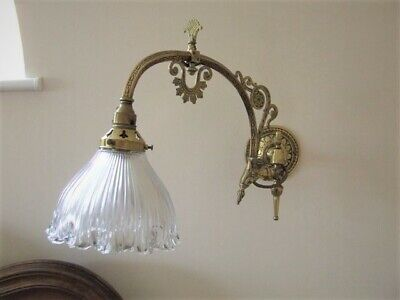 Pair Edwardian Ornate Brass Gas Wall Lights With Original Shades