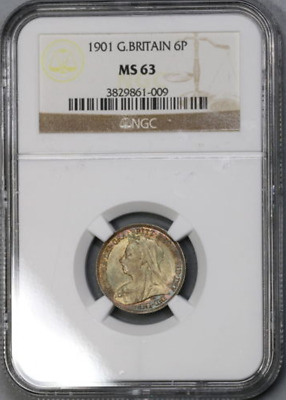 :1901 Silver Six Pence Great Britain Km#779 Low Pop Ngc Ms-63 Highest Grades