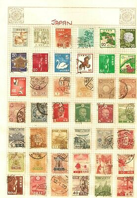 Vintage collection of 35 Japan Postage Stamps on album page