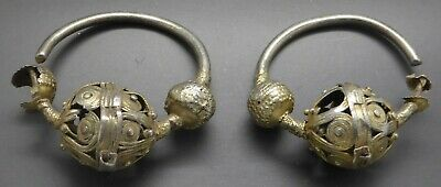 Pair of Large 10th C Silver Earrings