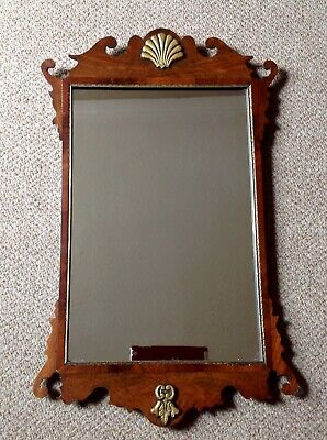 Antique Georgian C1830 Chippendale Style Fretwork Wood Mirror, Original Cond.