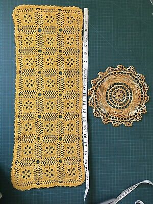 Hand Crocheted Cotton Table Mat / Table Runner Doilies. Doily Vintage