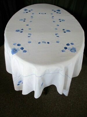 "VINTAGE TABLECLOTH - EMBROIDERED BLUE FLOWERS - 50"" x 68"""
