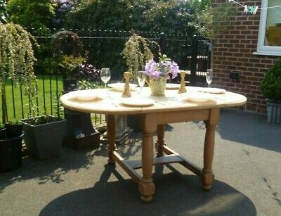 Antique Victorian Dining Table Kitchen Farmhouse Drop Leaf For 6 Chunky Stripped