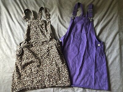 Bundle Of Girls Pinafore Dungaree Dresses From Next Age 10 Leopard Animal Print