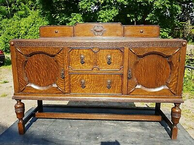 Antique Edwardian Oak Sideboard with Carved Detailing and Key