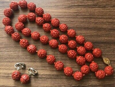 Chinese Cinnabar Lacquer Necklace And Earrings