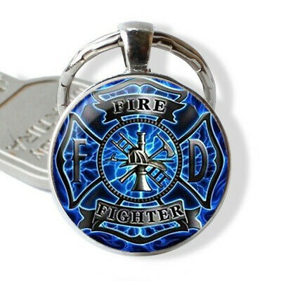 Firefighter Fire Fighter Cabochon Glass Tibet Silver Pendant Keychain for Gift