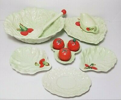 Carlton Ware cabbage and tomato decorative glassware serving set made in England