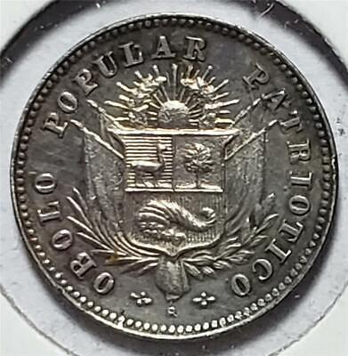 Peru, Sol, 1910, Toned AU-Uncirculated, Token Coinage, Silver