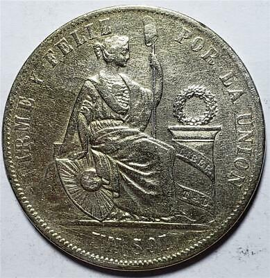 Peru, Sol, 1869Y.B, Very Fine, Cleaned, .7234 Ounce Silver
