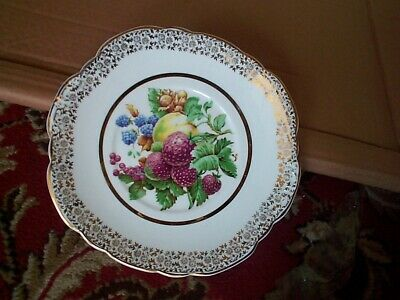 VINTAGE LUBERN  22KT GOLD BONE CHINA PLATE Fruits & Nuts