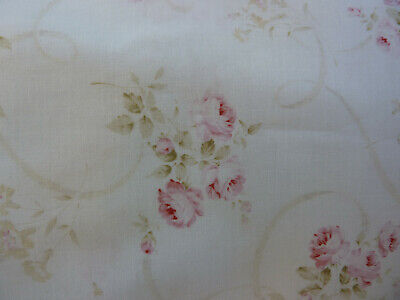 Mary Rose 3 Quilt Gate Fabric Faded Pink Furling Roses on White RARE and Coveted