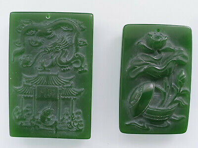 Antique / vintage carved green jade / hardstone plaques, 2 items