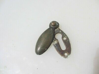 Vintage Brass Keyhole Cover Escutcheon Plate Architectural Antique Old Oval