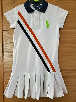 Girls Ralph Lauren white Dress with blue and orange stripe. Green logo, Age 5