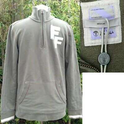 NEW Fat Face Men's FF-Logo Zip-Neck Heavy Sweatshirt Medium Front Pockets