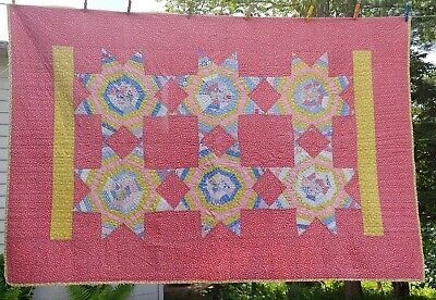 "Vintage antique Hand Made Hand Quilted Star Burst Quilt 54"" x 96"" Very Nice"
